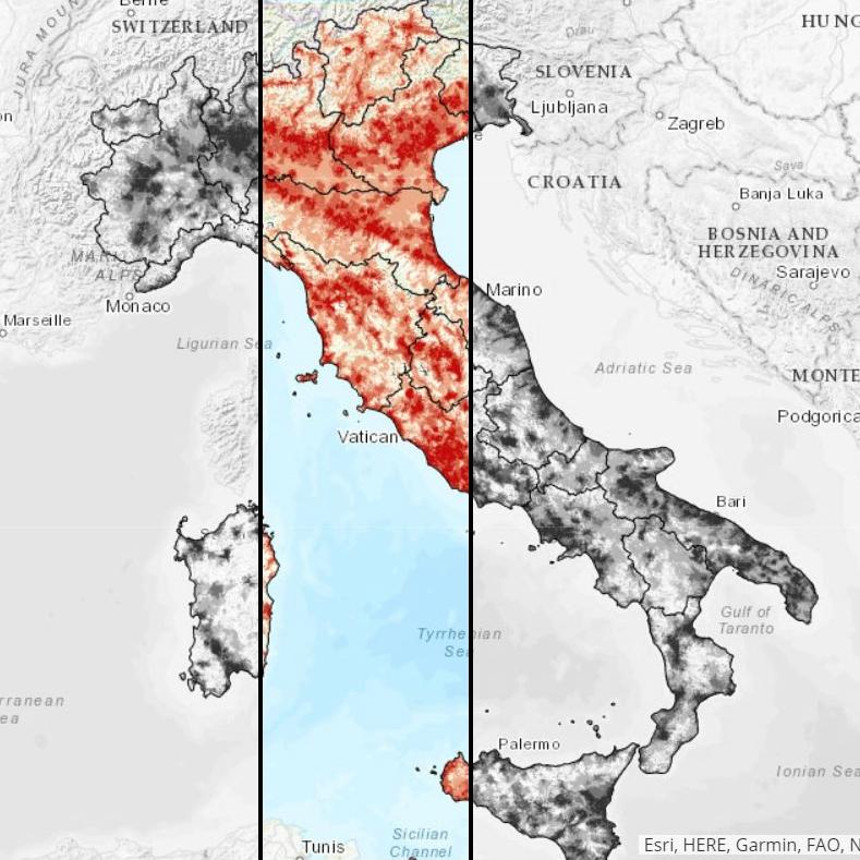 Copertura mobile in Italia, mappa di calore