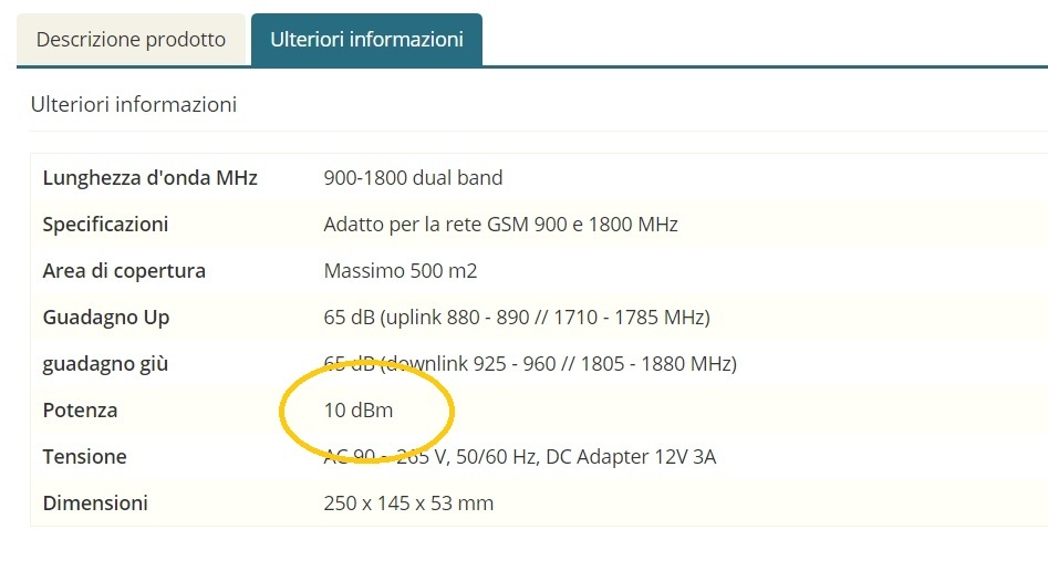 potenza ripetitore GSM