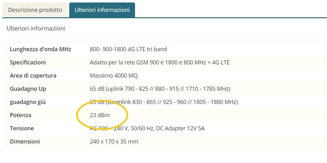 potenza ripetitore GSM 3